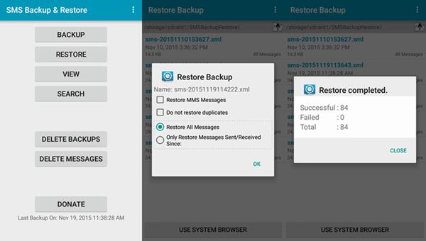 SMS restore