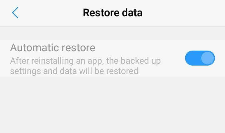 automatic restore